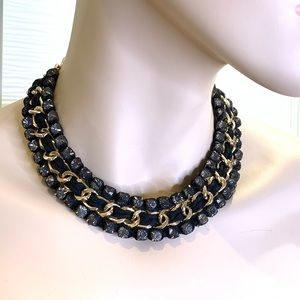 Aldo Necklace Choker Black Mesh, Faux Diamonds